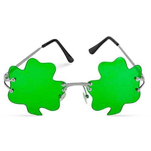 St. Patrick's Day Irish Shamrock Leaves Green Leprechaun Costume Glasses, 1 Pair by Big Mo's Toys -