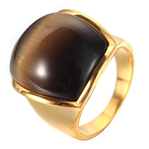 - Oakky Men's Stainless Steel Gold Plated Wide Cat's Eye Stone Ring Brown Size 11