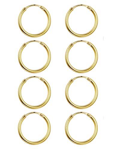 Besteel 4 Pairs 925 Sterling Silver Cartilage Hoop Earring Set For Women Girls Huggie Earrings Ear Piercing Jewelry 10MM Gold-tone ()
