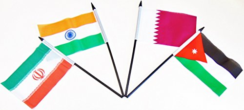 SOUTH CENTRAL ASIA WORLD FLAG SET--20 Polyester 4''x6'' Flags, One Flag for Each Country in South Central Asia, 4x6 Miniature Desk & Table Flags, Small Mini Stick Flags by World Flags Direct (Image #3)
