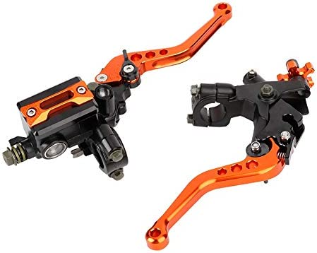 """1 Paar Motorrad Brems- und Kupplungshebel Universal Bremskupplung Hauptbremszylinder Behälter 7/8""""(22mm) (Orange)"""