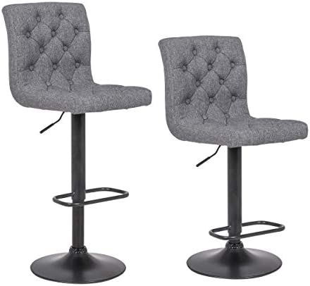 Adjustable Height Bar Stool Seat Modern Airlift Swivel Barstool Mid-Back Padded Chair for High Ergonomic Seating Heavy Duty Contemporary Metal Base Square Light Gray 2PK