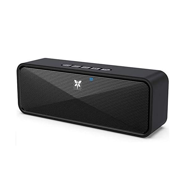 Enceinte Bluetooth 5.0 Portable, Axloie Macaron Haut-Parleur sans Fil HiFi Stéréo avec Microphone Mains Libres Entrée AUX/Clé USB/Carte TF 10 Heures Autonomie pour iOS Android Tablettes etc –Noir 1