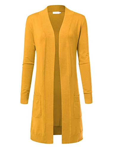 Women's Solid Soft Stretch Longline Long Sleeve Open Front Cardigan XL Yellow B -