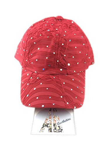 Aesthetinc Rhinestone Glitter Sequin Baseball Cap Hat Adjustable (Red)]()