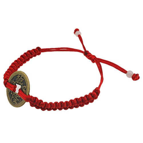 Muzuri's Feng Shui Adjustable Red String Bracelet with Chinese Coin for Good Luck and Prosperity+ Free Lucky Red String - Bracelet Lucky Coin