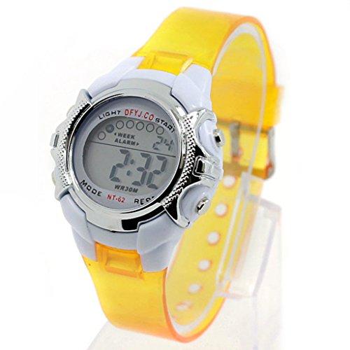 Watch - POTO 2017 New Boy Girl Alarm Date Digital Multifunction Sport LED Light Wrist Watch Luminous (yellow)