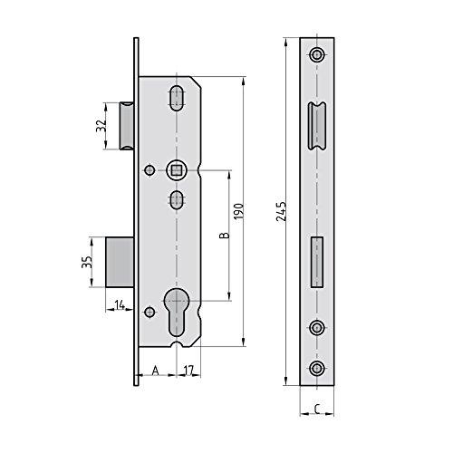 Rohrrahmeneinsteckschlo/ß ES 958 PZW 92 16mm Stulp 9585-3516 35 mm Dorn