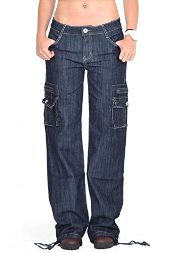 omen's Wide Leg Cargo Pants Combat Trousers - Denim US6/UK8 (Flap Pocket Wide Leg Jeans)