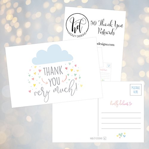 50 4x6 Rain Clouds Blank Thank You Postcards Bulk, Cute Modern Baby Shower Sprinkle Rainbow Showered With Love Thank You Note Card Stationery For Wedding Bridesmaid Bridal, Religious, Holiday Photo #3