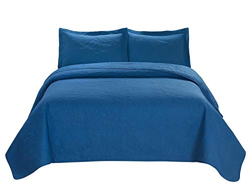 3 Piece Premium Comfy Embossed Bedspread Set,Oversized Ultrasonic Thermal Pressing Embossed Coverlet Set,Moderate Weight Bed Spread,MIKANOS (King, Turquoise)