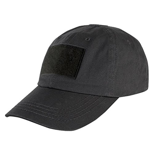 DLP Tactical Camo Operator Hat Baseball Cap with Hook and Loop Fastener Panels (Black)