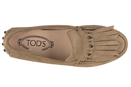 Tod's mocassini donna in camoscio gommini frangia origami marrone