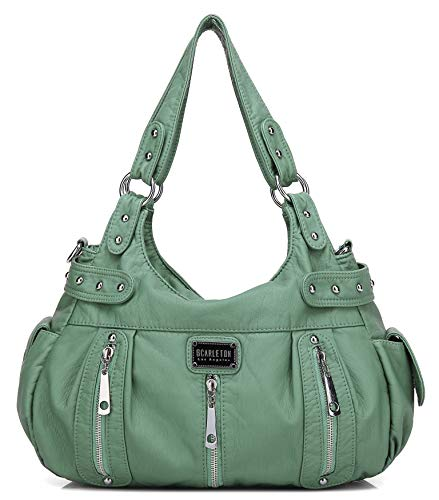 - Scarleton Satchel Handbag for Women, Ultra Soft Washed Vegan Leather Crossbody Bag, Shoulder Bag, Tote Purse, Dark Mint, H129253