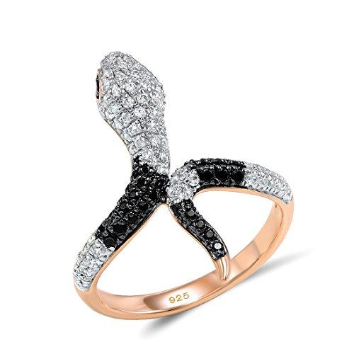 Ring Gold Snake White (Santuzza 14K Rose Gold-Plated 925 Silver Snake Ring Black Spinel White Cubic Zirconia CZ Stone)