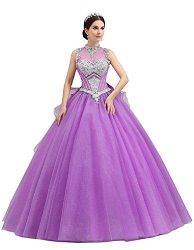 See Bowknot Emily Through Violett hochgeschlossen Brautkleider Kugel Ineinander Beauty greifen Rhinestone fZwaqdIxn5
