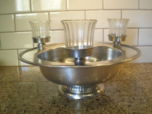The White Barn Candle Company Silver Metal Centerpiece Bowl with 3 Glass Votive Candle Holders