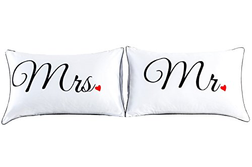 Couples Pillowcases for Girlfriend Boyfriend,Cute, Wedding Gift, 19x29Inch (17)