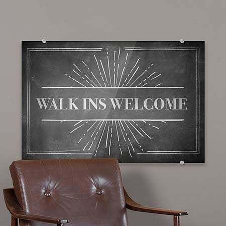 Walk Ins Welcome Modern Block Premium Acrylic Sign CGSignLab 2463316/_5absw/_27x18/_None 27x18