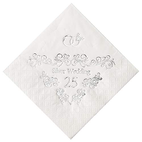 Crisky 25th Wedding Anniversaray Napkins Silver Cocktail Beverage Napkins, 25th Wedding Anniversary Decorations for Candy Cake Table Decor 25th Party Supply, 100 Pcs, 3-ply