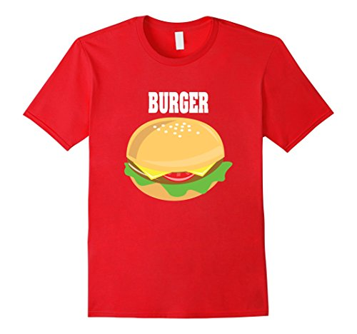Mens Cheeseburger Couples Halloween Costume Shirt Burger & Fries Large Red (Couples To Dress Up As For Halloween)