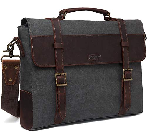 Messenger Bag for Men, Vaschy Vintage Leather Canvas Satchel 15.6inch Laptop Business Briefcase Crossbody Shoulder Bag with Detachable Strap Gray