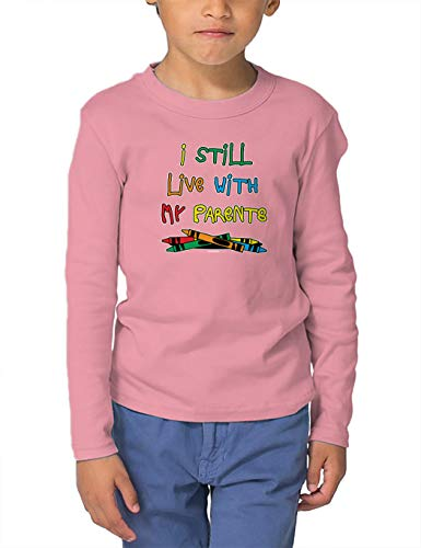 HAASE UNLIMITED I Still Live with My Parents - Crayons Long Sleeve Toddler Cotton Jersey Shirt (Light Pink, 4T) ()