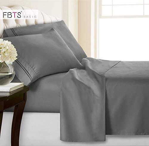 FBTS Basic King Bed Sheets(Fitted Flat 4 Piece Sheet Set, 1800 Hotel Luxury Soft Hypoallergenic Microfiber, Adjustable 15-18 inch Deep Pocket Mattress Modern Bedding Cover for Women Men, Grey ()