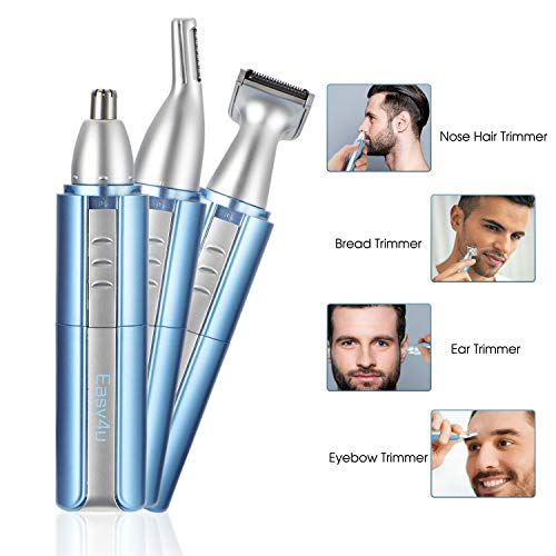 Easy4U Ear and Nose Hair Trimmer Clippers for Men & Women, Professional USB Rechargeable Eyebrow Facial Ear Hair Trimmer Painless Nose Hair Remover Waterproof with Dual Edge Blades