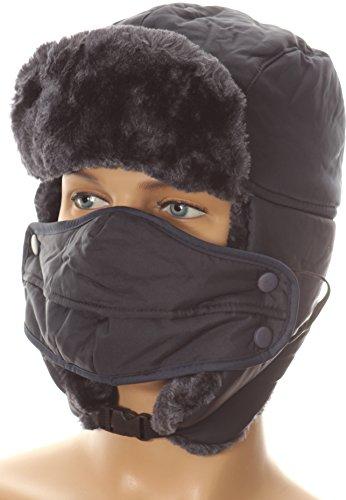 Sakkas 16161   Esty Adjustable Chin Buckle Faux Fur Lined Face Mask Unisex Trooper Hat   Navy   Os