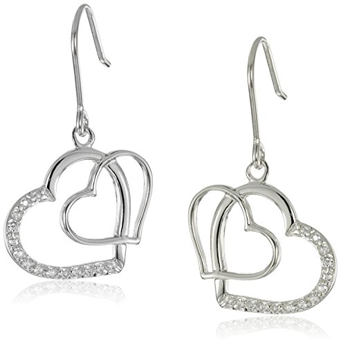 Earrings Diamond Open Heart (Sterling Silver Cubic Zirconia Double Open Heart Drop Earrings)