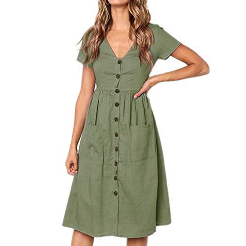 Corta Maniche Vestito Da V Verde Delle Corte Scollo Signore Manica Con Qiyun A Casual Partito Donna UpVMqzGS