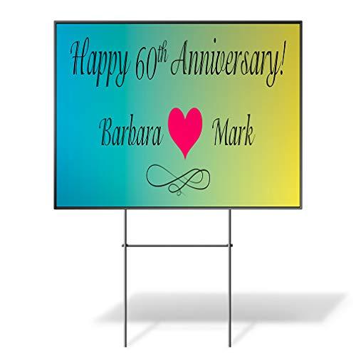 - Custom Personalized Yard Sign Happy Anniversary! Husband Wife B Heart Green One Side Print 18inx12in