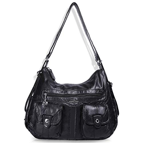 Angelkiss Women's Multifunctional Shoulder Hobo Bag Soft Leather Messenger Crossbody Purse Satchels Handbags with Zipper (A-0107-black)