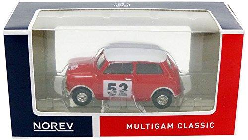 Norev - Miniature Voiture Mini Cooper Rallye Monte Carlo 1965 Echelle 1/64, 319251-Cooper, Rouge/ Blanc