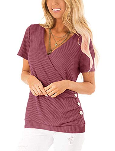 Women's Casual Waffle Knit Short Sleeve Side Button Sexy V Neck Cross Tops Tunic Wrap T Shirt Brick-red