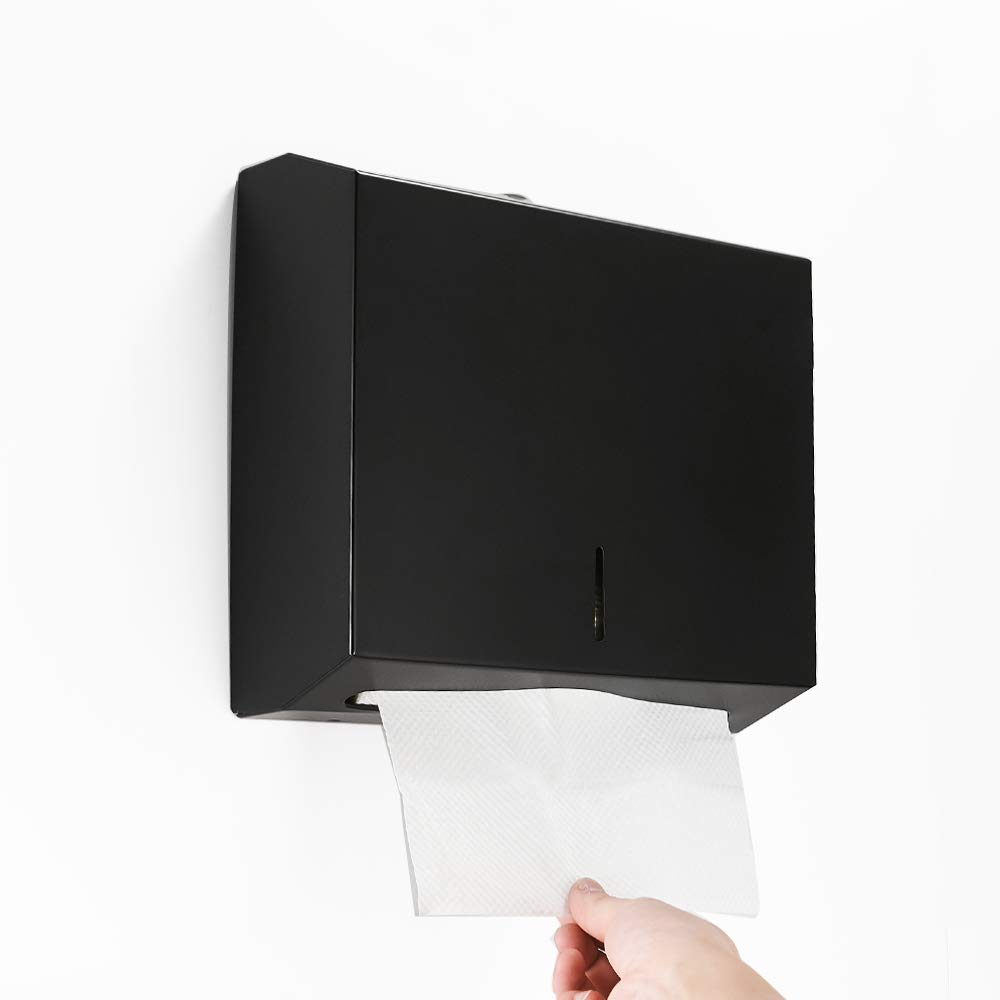 BESy Industries C-Fold Multifold Paper Towel Dispenser, Wall Mounted Stainless Steel Tissue Dispenser, Commercial Paper Hand Towel Holder for Office Bathroom Kitchen,Matte Black Finish