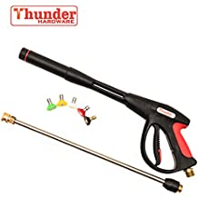 Thunder Hardware 4000psi Pressure Washer Spray Gun with Universal M22 Connector and 5 quick connect nozzles for Honda Excell Troybilt, Generac, Simpson, Briggs Stratton Pressure Washers