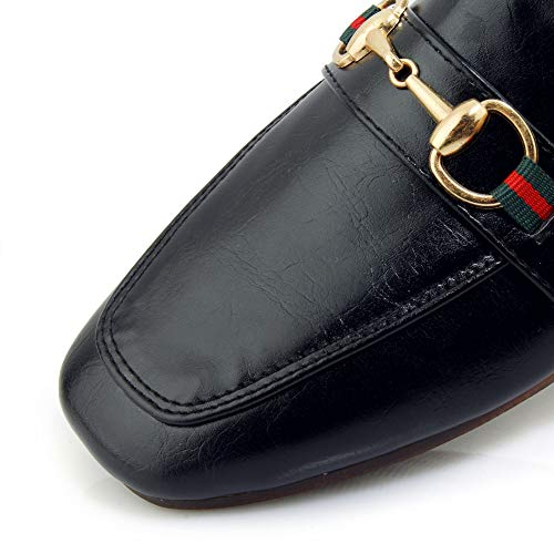 Flat Toe Slide Slippers Heel Black Loafers Women's 9 Mules Low Slip Backless Cicime Black On Square qxnwXZPqR4