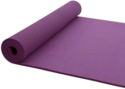 TPEヨガマット - 体操ヨガピラティスワークアウトやトレーニングのために厚み付けエクササイズマットノンスリップ耐久性のあるワークアウトマット,紫色,183*122*0.8cm