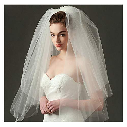 Olbye Women's Wedding Veil Two Tier Fingertip Veil Raw Edge Veils for wedding Soft Tulle Bubble Veil (White)