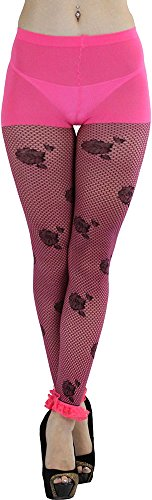 ToBeInStyle Women's Fishnet Footless Tights With Floral Print And Lace Anklet-Pinkblack