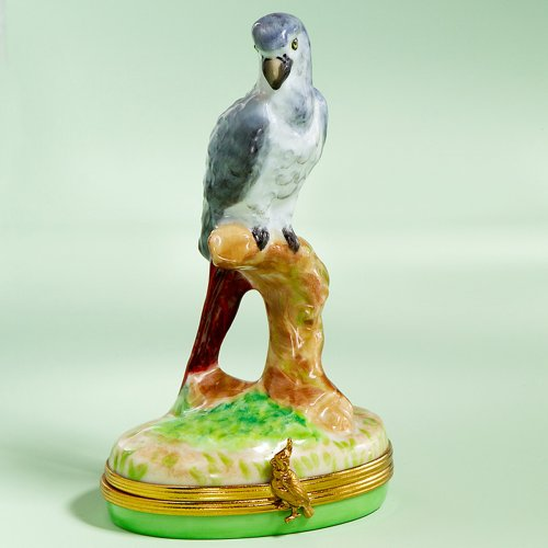 Limoges Authentic French Hand Painted African Gray Parrot Box ()