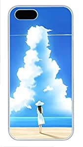 iPhone 5 5S Case Girl On Beach With Big Cloud281 PC Custom iPhone 5 5S Case Cover White