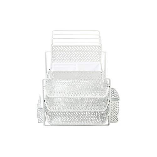 Staples All-in-One White Zigzag Desk Organizer