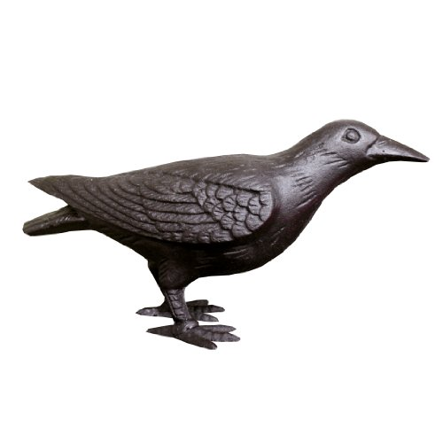 (NACH JS-90-7118 Decorative Cast Iron Crow with Head Up, Black )