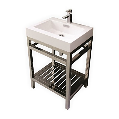 CISCO 24″ STAINLESS STEEL CONSOLE W/ WHITE ACRYLIC SINK – CHROME