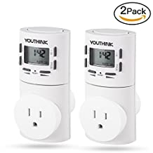 2 PCS Timer Switch Outlet, 7-Day Digital Programmable Smart Wall Socket Plug-In Timer Switch Energy-Saving Outlet For Plants, Gardening and Electric Appliances (2 Pack)