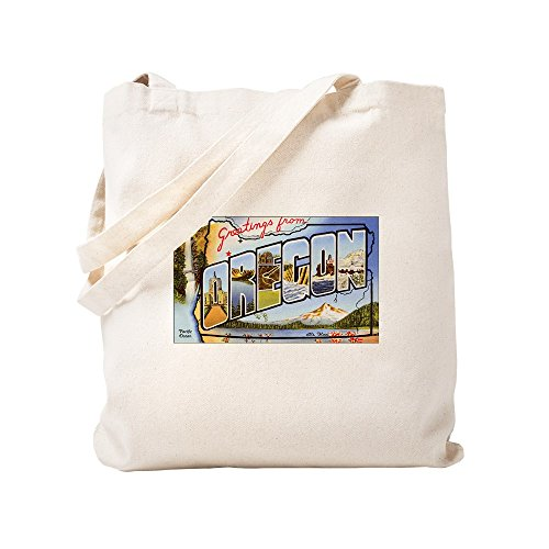 CafePress - Oregon Greetings - Natural Canvas Tote Bag, Cloth Shopping Bag