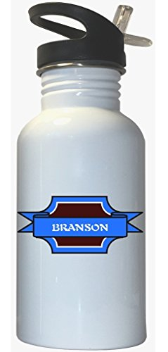 Branson - Boy Name White Stainless Steel Water Bottle Straw - For Branson Kids